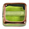 Glass Lamp Bead Half Cube 13mm Olivine/Bronze